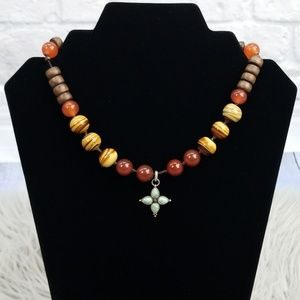 Lucky Brand Boho Red Brown Wood Bead Necklace